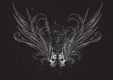 Crânios com as asas no fundo preto Fotografia de Stock Royalty Free
