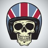 Crânios com ilustração do vetor do capacete da motocicleta de Inglaterra ilustração do vetor