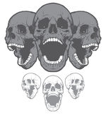 Crânios gritando isolados no fundo branco Elemento do projeto Imagens de Stock Royalty Free
