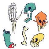 Crânios tirados mão, ossos e um pé ilustração stock