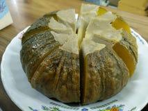 Crème anglaise de potiron images stock