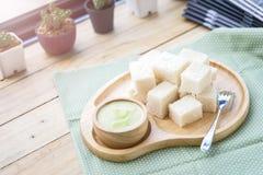 Crème anglaise thaïlandaise de pain Photo stock