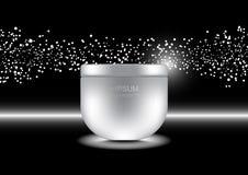 Crème anti-vieillissement avec les lumières blanches de petite bulle sur le backgrou foncé illustration libre de droits