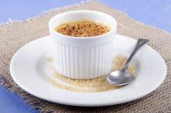 Crème-brulée in una ciotola della porcellana Fotografie Stock Libere da Diritti