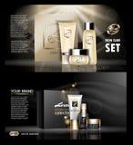 Crème d'or et noire de vecteur de Digital de soins de la peau Image libre de droits