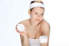 Crème de peau Photographie stock libre de droits