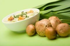 Crème de potage de champignon de couche et de poireau Photo libre de droits