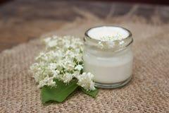 Crème de visage avec des fleurs de châtaigne Cosmétiques Photographie stock libre de droits