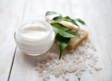 Crème de visage avec du sel de mer Images libres de droits