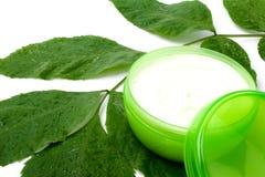 Crème de visage avec la lame verte photographie stock libre de droits