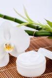 Crème de visage cosmétique sur le fond en bois Image libre de droits