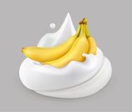 Crème et banane fouettées, vecteur illustration de vecteur
