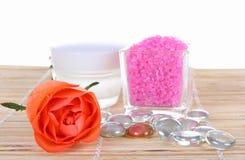Crème et sel de bain Photo stock