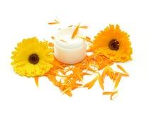 Crème fabriquée à la main de beauté avec des fleurs Photo libre de droits