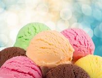 Crème glacée assortie, vue en gros plan photographie stock