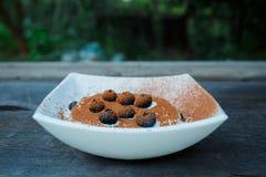 Crème glacée avec des myrtilles et poudre de cacao dans le piala blanc Photo stock