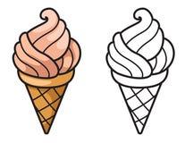 Crème glacée colorée et noire et blanche pour livre de coloriage Image libre de droits