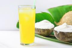 Crème glacée délicieuse de noix de coco de Vegan dans des cuvettes sur le grand verre en feuille de palmier vert avec le jus de f Photos stock