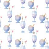 Crème glacée d'été et modèle sans couture de boissons Photos libres de droits