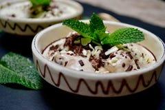 Crème glacée dans la cuvette avec les feuilles en bon état Photographie stock