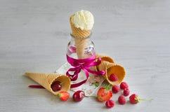 Crème glacée dans le cône avec des baies Image stock
