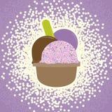 Crème glacée dans le signe de tasse Symbole doux Illustration colorée de Realisitc Vecteur Photos stock