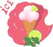 Crème glacée dans une tasse de gaufre avec la chaux et la menthe illustration stock