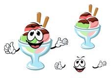 Crème glacée de bande dessinée sur un verre Photo stock
