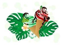 Crème glacée de cerise et de menthe Photographie stock