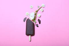 Crème glacée de chocolat avec des fleurs sur le fond rose Photos stock