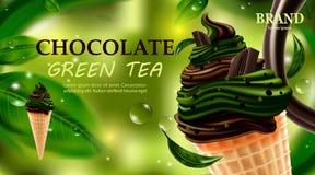 Crème glacée de chocolat délicieux et de thé vert de matcha, chocolat avec de la crème de lait pour l'été sur le fond vert, illus illustration stock