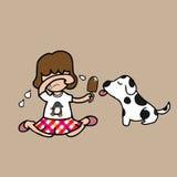 Crème glacée de cri et de part de fille avec le chien illustration libre de droits