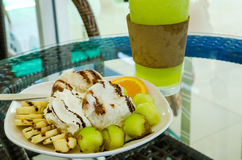 Crème glacée de melon et de banane Photos libres de droits