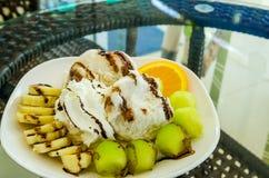 Crème glacée de melon et de banane Images libres de droits