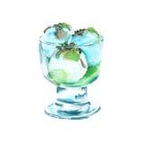 Crème glacée de pistache dans un vase D'isolement sur le fond blanc Illustration d'aquarelle illustration libre de droits