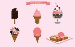 Crème glacée de rose et de fraise illustration libre de droits