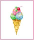Crème glacée de Watercolo dans le cône de gaufre Image libre de droits