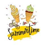 Crème glacée deux sur une bicyclette et des patins de rouleau illustration stock