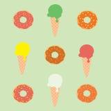 Crème glacée et beignet  Image libre de droits