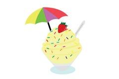 Crème glacée et fruit dans la cuvette Image libre de droits