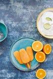 Crème glacée faite maison assortie avec des fruits frais Photographie stock