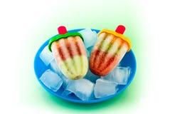 Crème glacée faite maison de fruit avec un bâton Photographie stock libre de droits