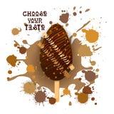 Crème glacée Lolly Colorful Dessert Icon Choose votre affiche de café de goût Photo stock