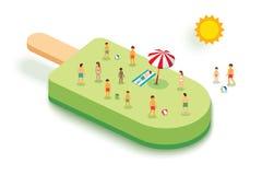Crème glacée pour l'été Concept de vacances avec des personnes sur le dos de vert Images stock