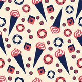 Crème glacée sans couture de modèle de vecteur, bagel, baklava, dondurma, illustration de bande dessinée de sucrerie d'isolement  Images stock