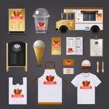 Crème glacée vendant l'ensemble de conception illustration stock