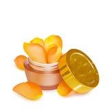 Crème hydratante de luxe de visage avec des roses Photo libre de droits