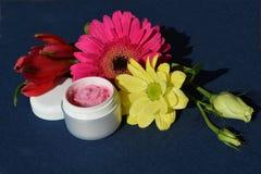 Crème rose, baume de lèvres Images stock