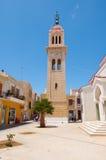 CRÈTE, RETHYMNO- 23 JUILLET : Le belltower de l'église de Megalos Antonios en juillet 23,2014 dans la ville de Rethymnon sur l'îl Image stock