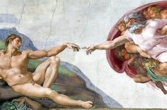 Création d'Adam dans la chapelle de Sistine Image stock